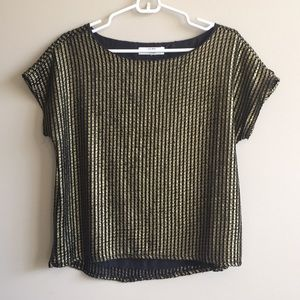 Boxy Gold and Black Short Sleeved Blouse